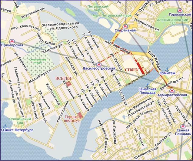 Схема проезда до СПбГУ: